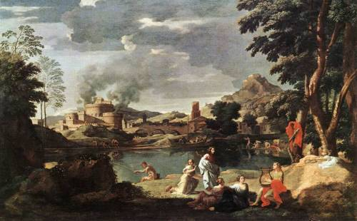 Nicolas Poussin - Landscape with Orpheus and Euridice